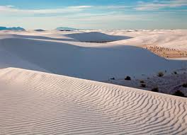 White Sands, New Mexico. A little hard to see if it's snowed or not...