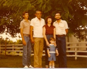 My family. Brother Randy, Dad, Mom, Me, and in the front, my son Donovan. 1980