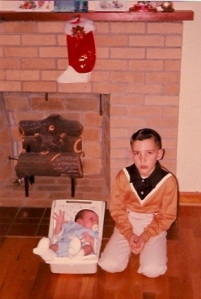 Christmas 1965 me and my new brother. The one I took to show-and-tell a year or so later.