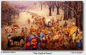 Artist's rendition of The Trail of Tears. Painting by Max Stanley.
