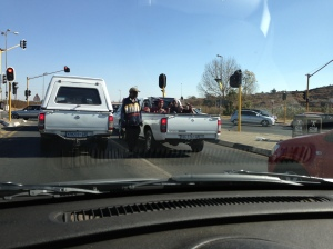 The friendly chaps in the white pickup truck outside Soweto