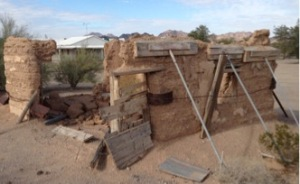Adobe ruins on  Main Street Quartzsite Az