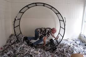 Person in a hamster wheel