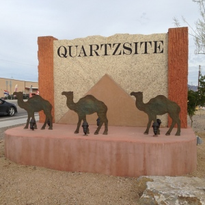 Quartzsite, three camel sign.