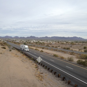 Highway running past Quartzsite