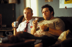 Shaun with tea and Ed with a cornetto