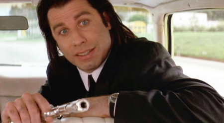 John Travolta as Vince in Pulp Fiction